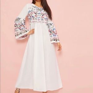 Flower Embroidered Frilled Trim Bell Sleeve